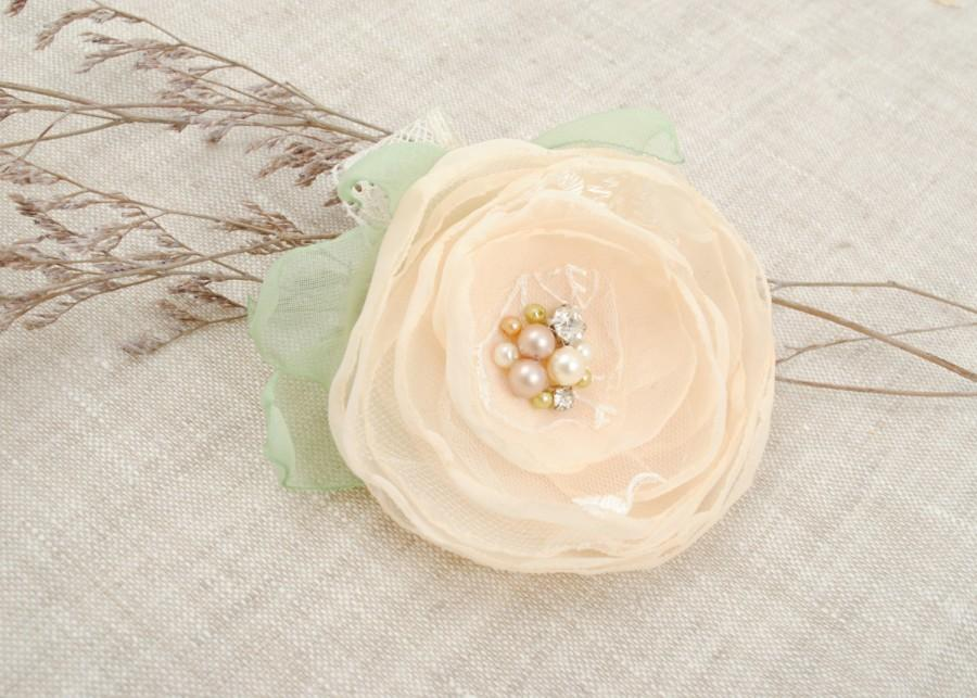 Hochzeit - Ivory Wedding Hair Accessories, Vintage, Ivory Hair Flower, Bridal Hair Pin,  Pearl Crystal Hairpiece, Hair Flower