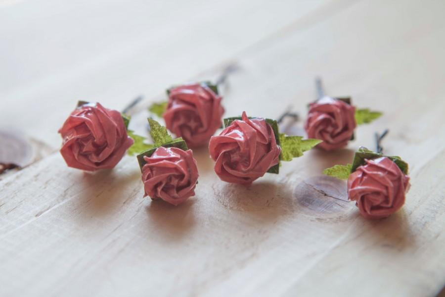 Bridal Hair Pins Origami Rose Bobby Pin Set Coral Rose Hair Pins Woodland