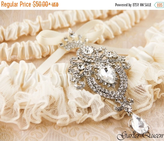 Wedding - 25% OFF sale Wedding Garter Set, Ivory Lace Garter Set, Bridal Garter Set, Rhinestone Garter, Ivory Garter Set, White Garter Set