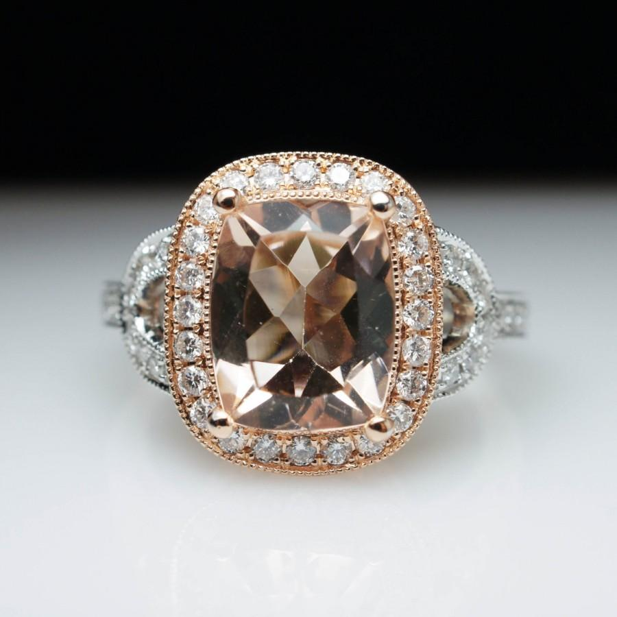 Cushion Cut Morganite & Diamond Halo Engagement Ring In 14k Rose Gold And