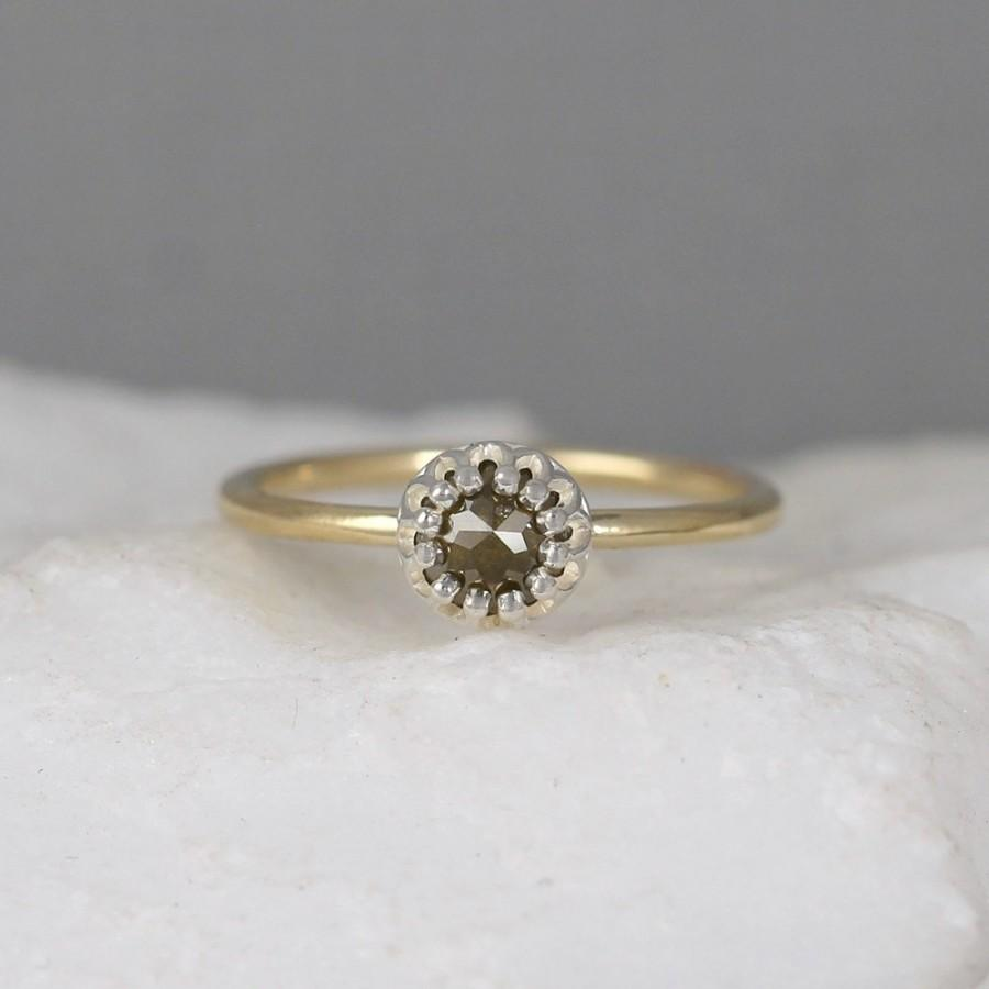 cut engagement ring 14k yellow gold