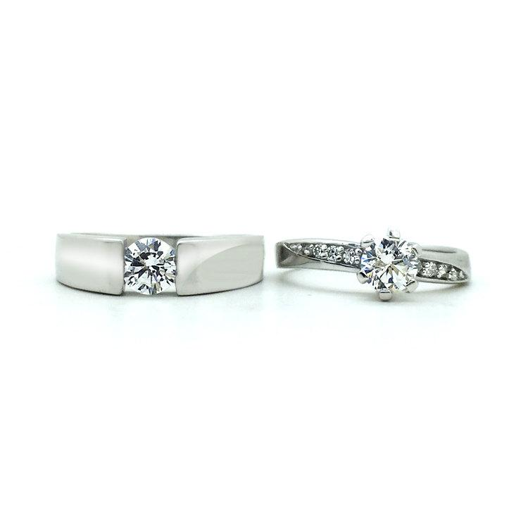 Свадьба - Engraved Matching Couples Promise Rings Couples Wedding Bands Set for 2