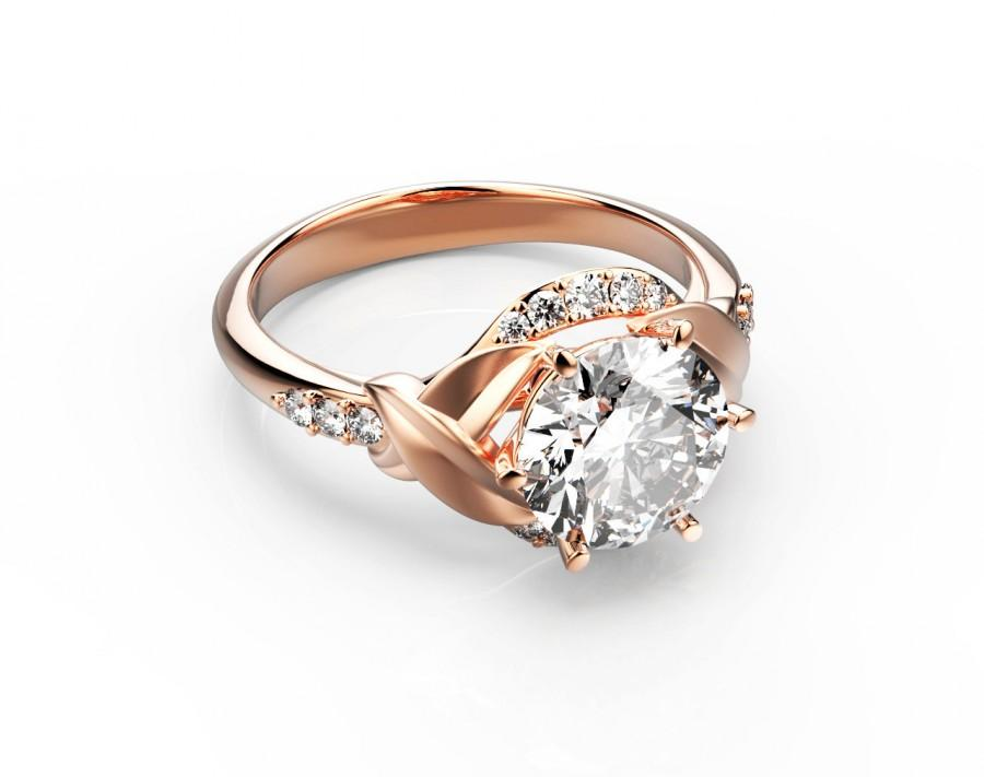 14K Rose Gold 2.00 CT Diamond Ring,unique Engagement Ring,Gold ...