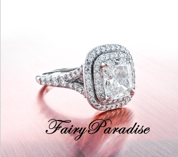 Art Deco 2 Ct Rectangle Cushion Cut Double Halo Engagement Ring Promise Rin