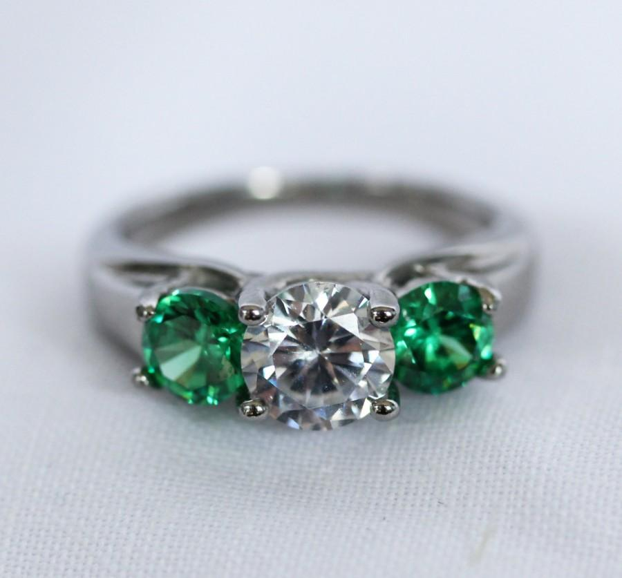 Trellis Trilogy Ring With Natural Emerald And White Sapphires Choose From T