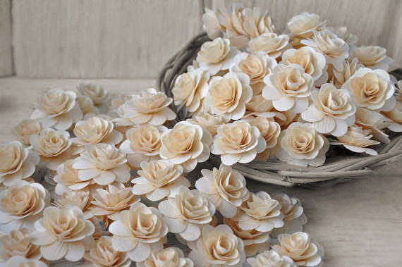Wedding - 150  Pcs Natural Birch Wood Roses for Weddings, Home Decorations, Scrapbooking and Floral Arrangements