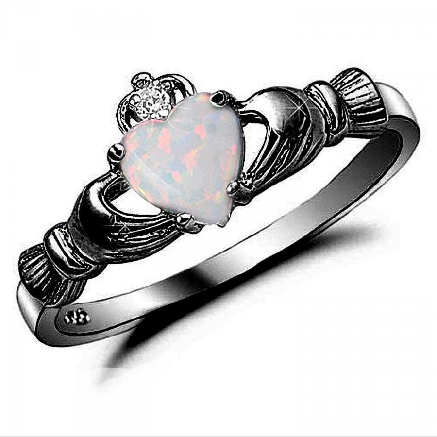 Claddagh Ring Black Gold 925 Sterling Silver 0 75 Carat Created