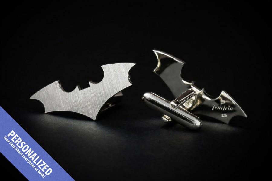 Wedding Cufflinks For Groom - Bat Cufflinks Personalized In Sterling ...