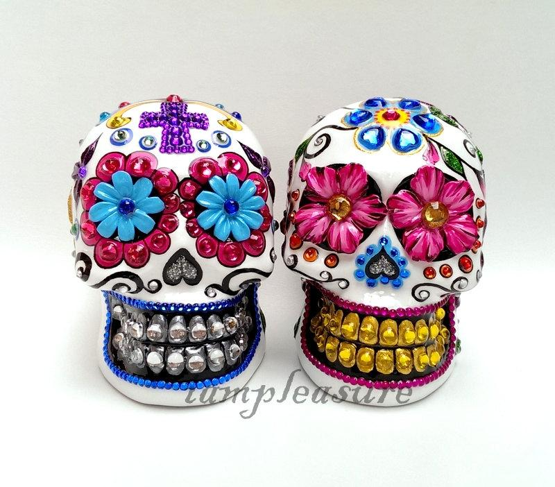 Wedding - Skull Mexican day of dead weddings cake topper handmade bride and groom