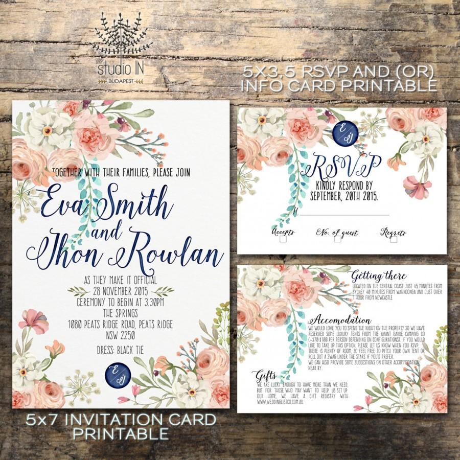 Floral wedding invitation printable wedding invitation for Etsy engagement party invites