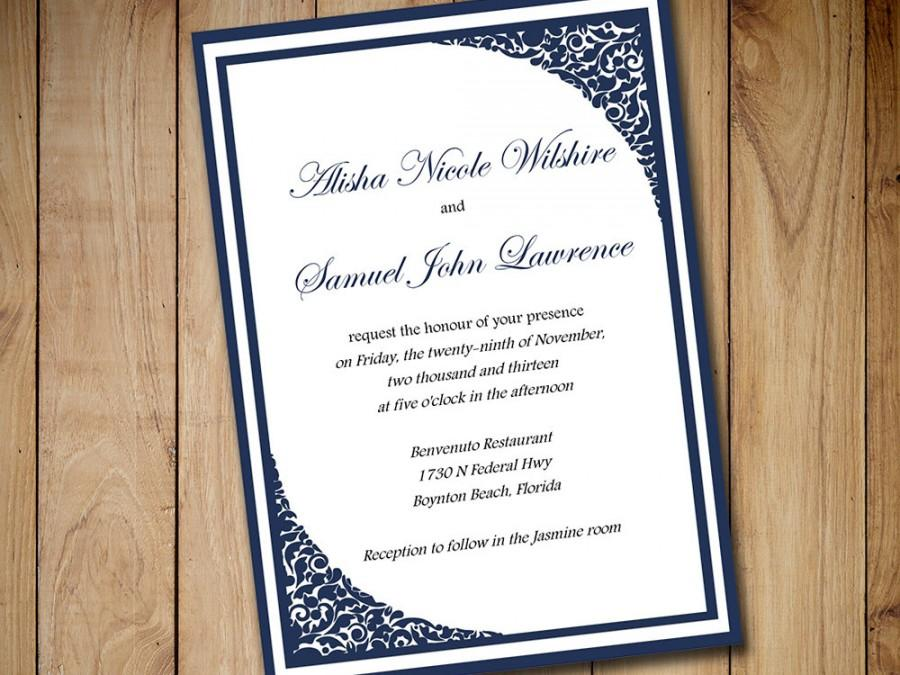 Printable Wedding Invitation Template Download - Dark Navy Blue ...