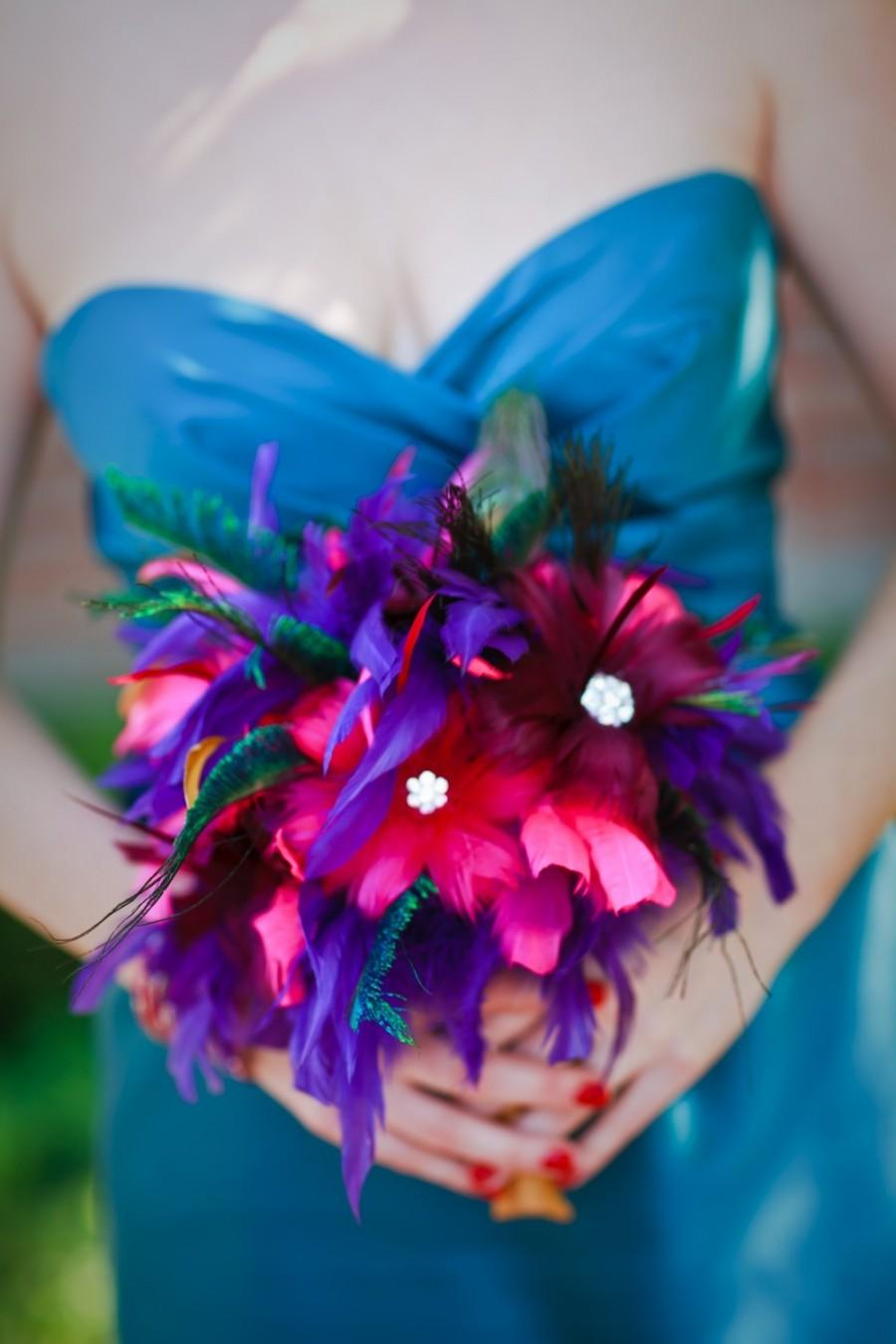 Mariage - Jewel Toned, Teal, Turquoise, Fuchsia, Pink, Cranberry, Crystal Feather Bouquet Made to Order just for you