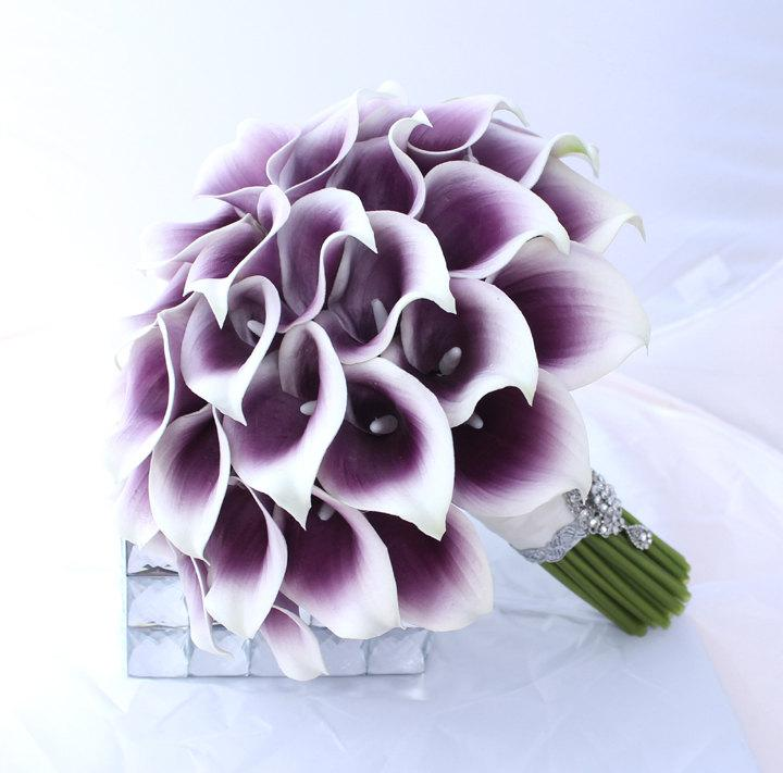 Wedding - Purple Wedding Bouquet. Real Touch Picasso Cally Lily Bouquet. Elegant Purple Bridal Bouquet Real Touch Mini Calla Lillies
