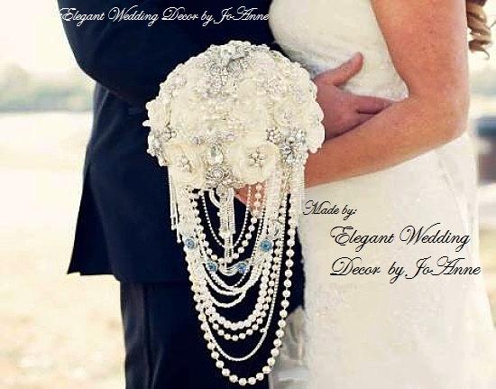Hochzeit - JEWELED WEDDING BOUQUET- Deposit for Elegant Ivory Cascading Pearl Elegant Brooch Bouquet, Custom Wedding Bouquet, Cascade Bouquet