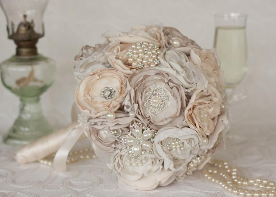 Vintage Inspired Brooch Wedding Bouquet Ivory Cream And Champagne Satin Chiffon Lace