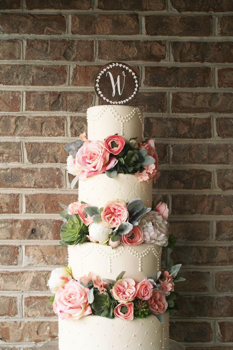 Mariage - Wood Wedding Cake Topper - Wreath with Monogram
