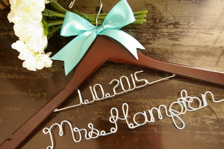 Bride 39 s dated two tier wedding dress hanger bridal for Personalized wire wedding dress hanger