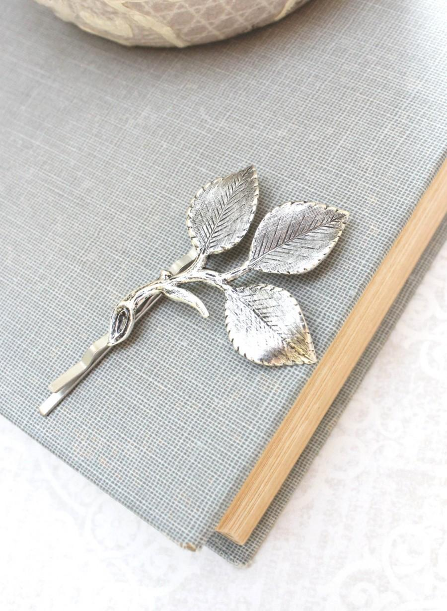 Свадьба - Silver Branch Bobby Pins Antique Silver Leaf Hair Pin Bridesmaid Gift Leaf Bobbies Garden Wedding Leaves for Hair Vintage Style Bridal
