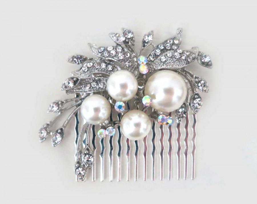 زفاف - Bridal Pearl Hair Comb, Pearl Hair Comb, Rhinestone Leaf Hair Accessories, Bridal Hair Piece, Wedding Hairpiece