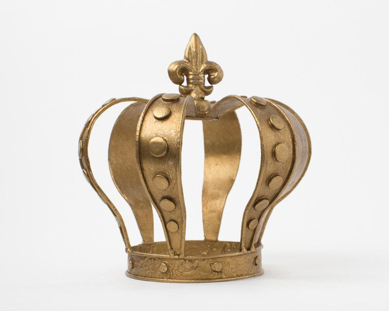 Свадьба - Gold Crown Cake Topper - hand painted Gold - Crown Party Decoration