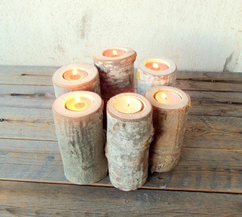 Свадьба - Set of 6 Wood Branch Candle Holders - Wood Log Holders - Wedding Decoration - Home Decoration - Wedding Centerpiece.