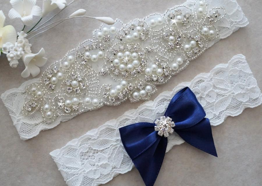 Mariage - CLAIRE Style A-Wedding Garter - Bridal Garter - Pearl and Crystal Rhinestone Garter and Toss Garter Set