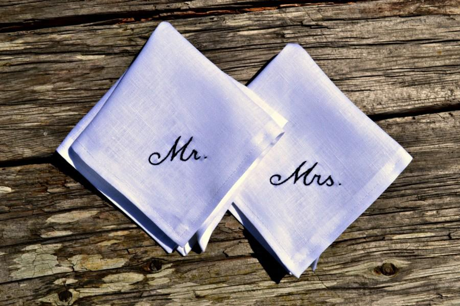 His And Hers Wedding Handkerchiefs Wedding Day Monogrammed