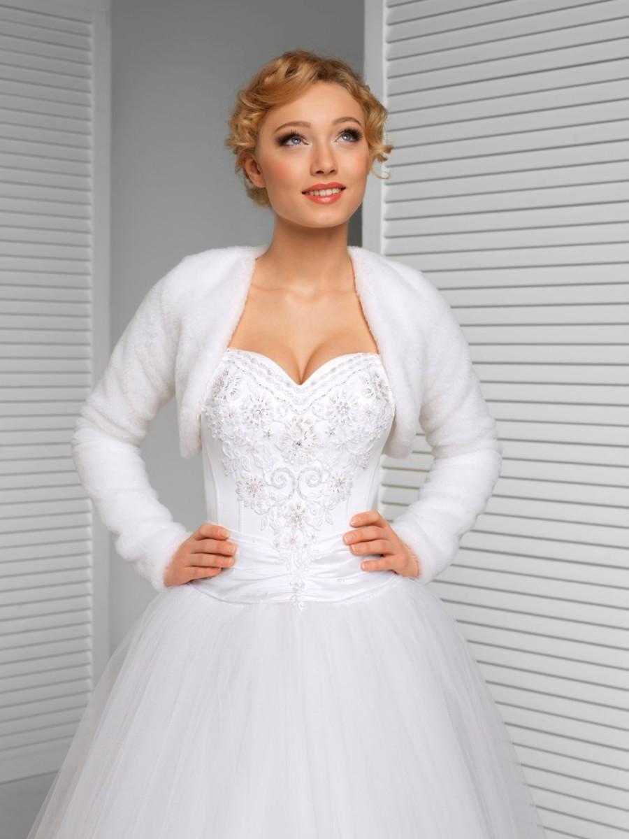 Winter Bridal Bolero Warm Bridal Jacket White Ivory Black 2417594