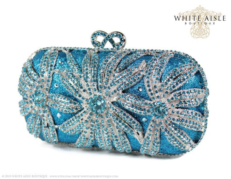 Wedding - Aqua Crystal Clutch, Blue Bridal Clutch, Silver Minaudiere, Wedding Purse, Evening Bag, Luxury Clutch, Rhinestone Clutch