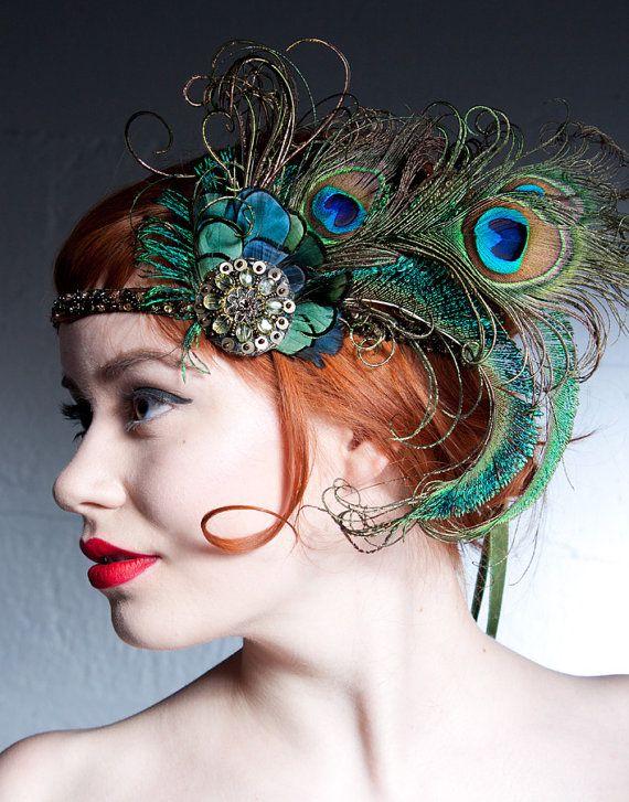 زفاف - Absinthe Nymph Peacock Feather Headband 1920s Flapper