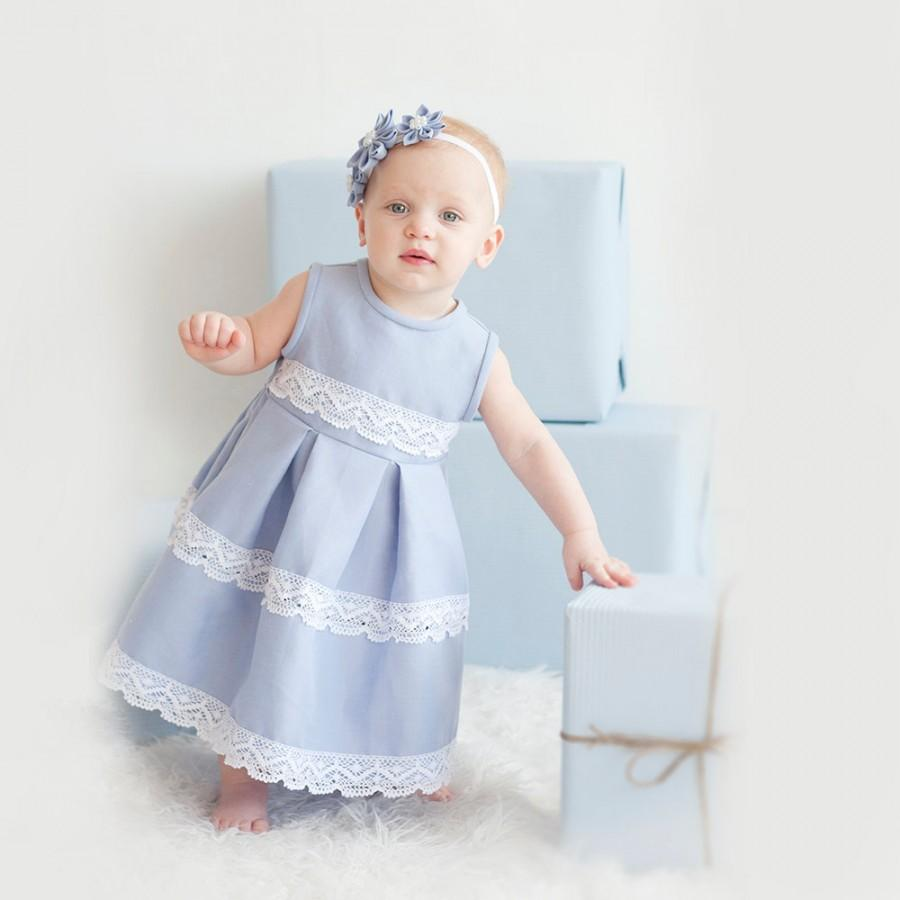 Blue Girl Dress - Flower Girl Dress - Linen Flower Girl Dress - Baby ...