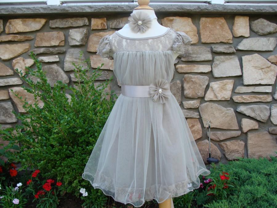زفاف - lace flower girl dress- Silver flower girl dress- flower girl dresses- gray flower girl dress- rustic flower girl dress- country flower girl