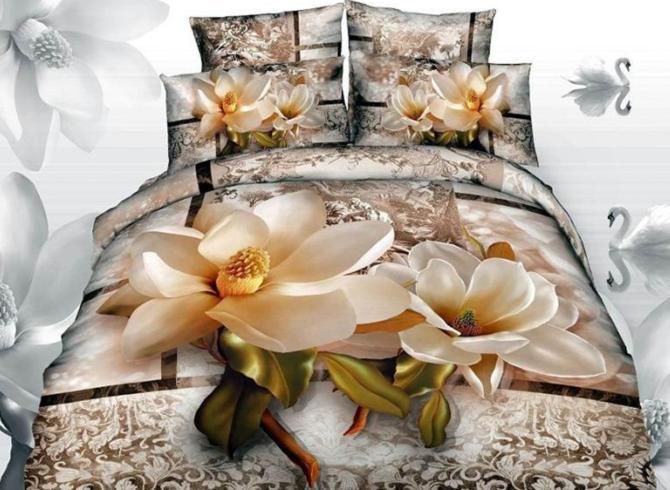 Свадьба - Best Selling Bright Magnolia with Paisley Flower Print 3D Duvet Cover Sets