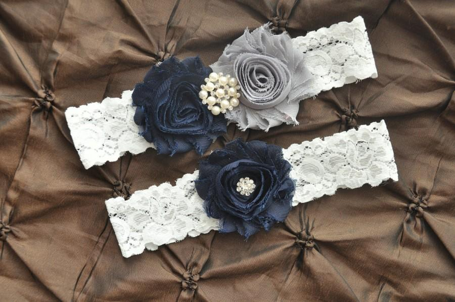 Hochzeit - Wedding Garter Belt, Bridal Garter Set - White Lace Garter, Keepsake Garter, Toss Garter, Shabby Chiffon Navy Blue Gray, Something Blue