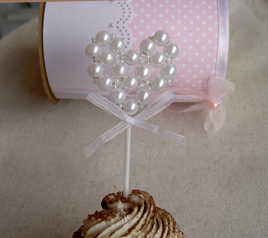 Свадьба - Heart Cupcake Toppers - Pearl Heart - Wedding cupcake toppers - Bridal shower cupcake toppers - White - Set of 6
