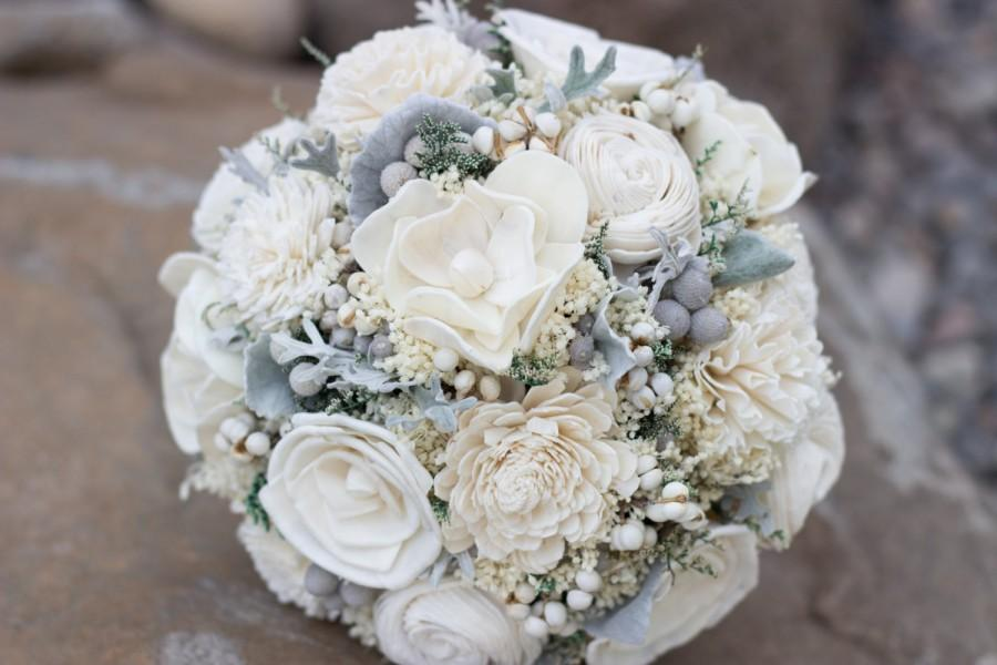 Vintage Wedding Bouquet Ivory Sola Flower Bridal Woodland Rustic Winter Keepsake