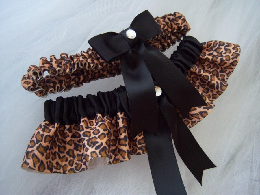 Mariage - Leopard Print And Black Ribbon Garter Set/Black and animal print garter set/