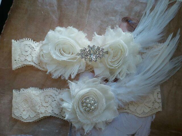 Wedding - Bridal Garter, Wedding Garter and Toss Garter - Ivory Garter Set with Crystal Rhinestone & Feather - Style G224