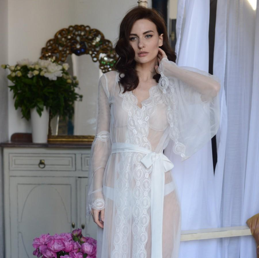 Свадьба - Lace-trimmed Tulle Bridal Robe F10(Lingerie, Nightdress), Bridal Lingerie, Wedding Lingerie, Honeymoon, Sleepwear, Christmas Gifts, For Her