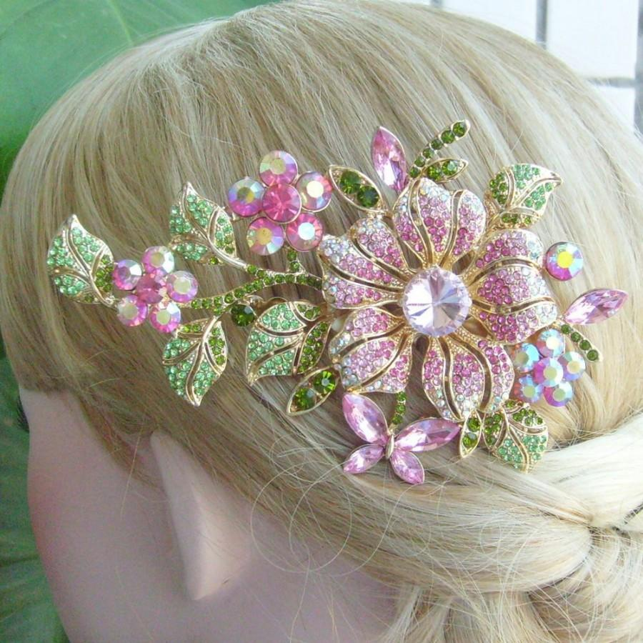 Mariage - VanessaJewel Hair Jewelry Wedding Hair Comb 4.72 Inch Gold-tone Pink Rhinestone Crystal Orchid Flower Hair Comb Bridal Hair Comb HSE04712C2