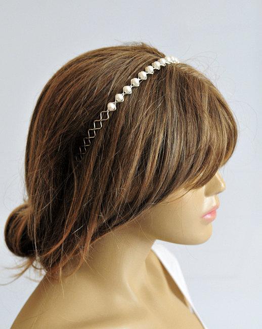 Mariage - wedding hairband, pearl headband, Bridal, Headpiece, wedding Accessory, Bridesmaids, bride, gift, wedding head piece, wedding hair piece