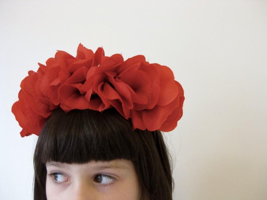 Mariage - Frida-style Floral Headband/Crown - 'Poppy'
