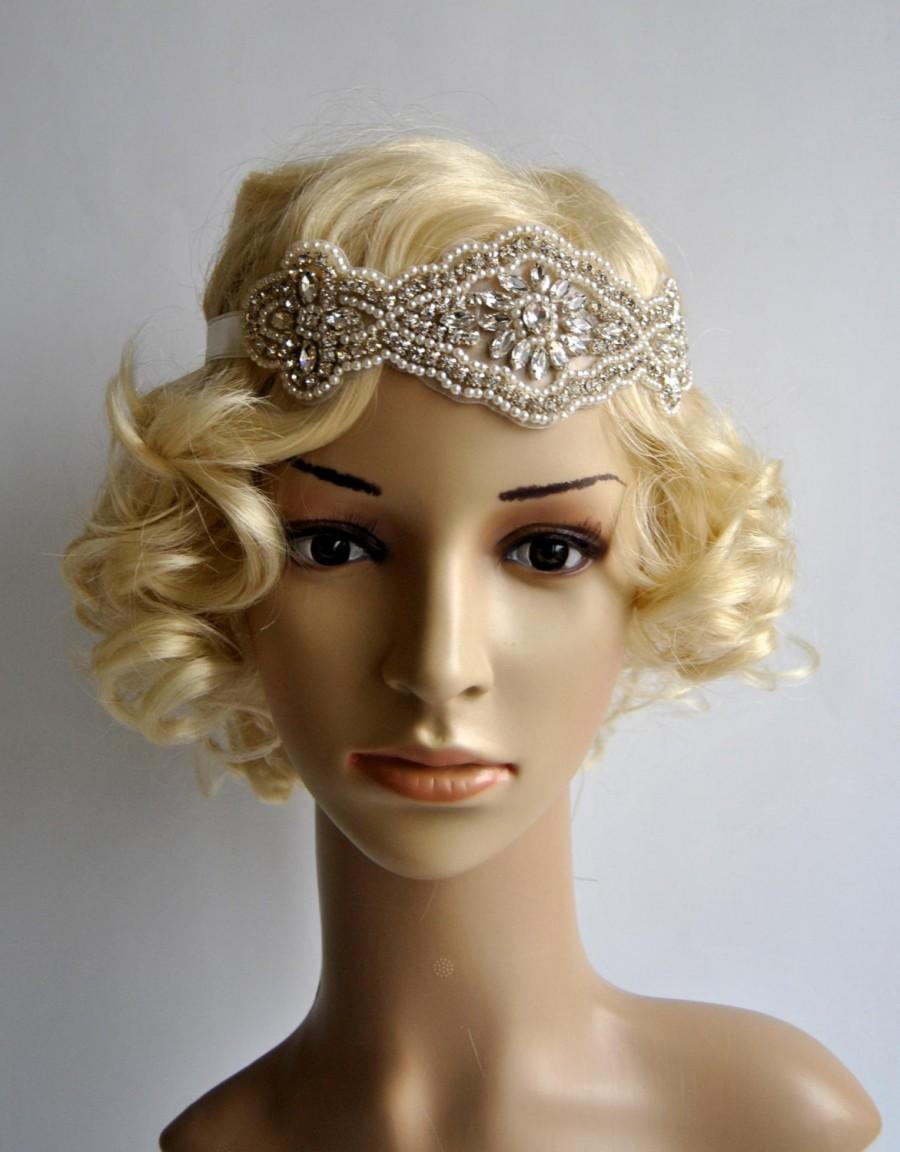 Mariage - Crystal Rhinestone & Pearls  flapper Gatsby Headband, Wedding Headband, Wedding Headpiece, Halo Bridal Headpiece, 1920s Flapper headband