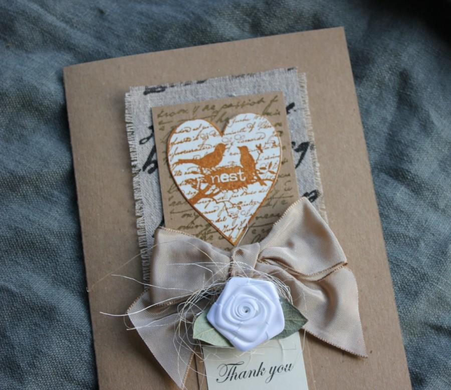 Mariage - Rustic Thank You Card Mum Dad Bridesmaid To My Parents Wedding Day Mother Father of the Bride Groomsman Burlap Hessian Shabby Chic Beige