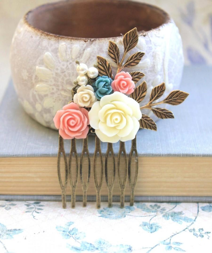 Mariage - Flower Hair Comb Bridal Flowers for Hair Leaf Rustic Branch Comb Rose Comb Wedding Hair Accessories Pink Peach Coral Rose Cream Bridal Comb