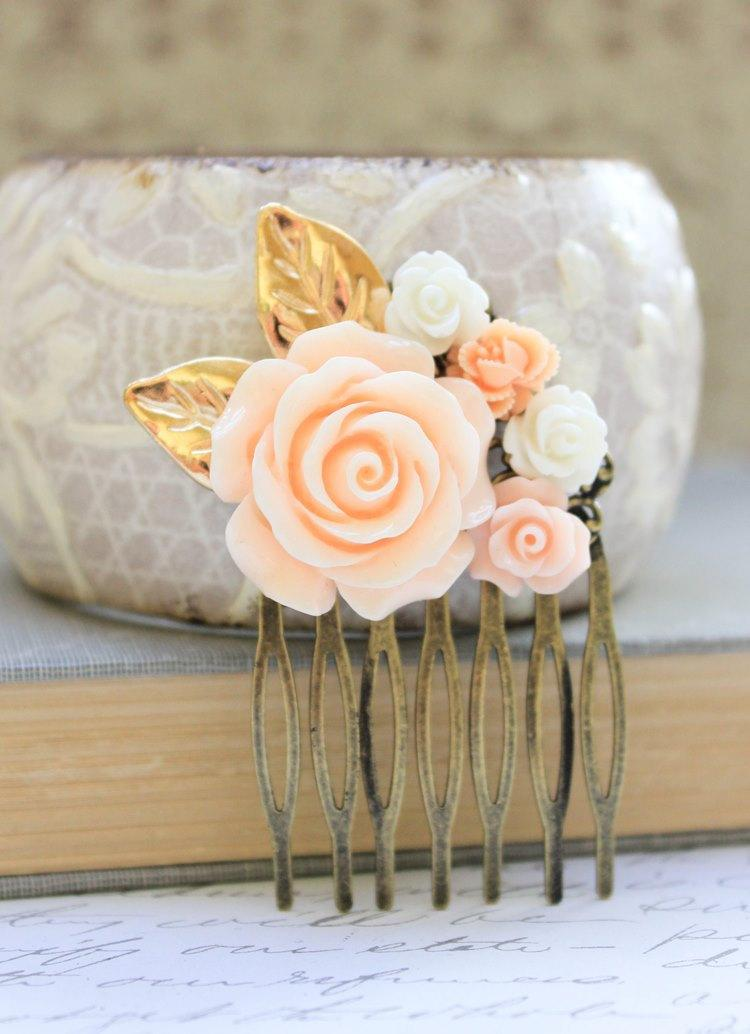 Mariage - Peach Rose Comb Floral Collage Hair Accessories Shabby Chic Wedding Bridal Pale Peach Rose White Rose Gold Leaf Leaves Winter Holidays