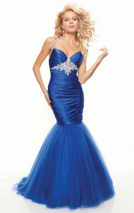 Boda - Mermaid Strap Tulle Blue Long Prom Dresses Trend In Finland