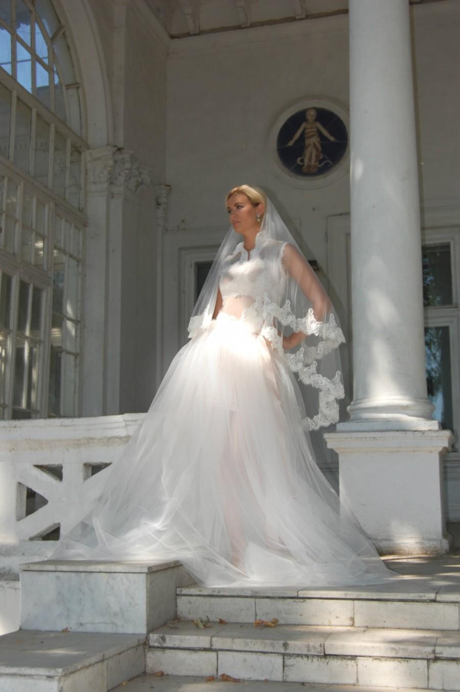 Hochzeit - Lace veil, ivory lace veil, wedding veil,veils,blusher veil, cathedral veil,chapel veil, STYLE 045 JULIA