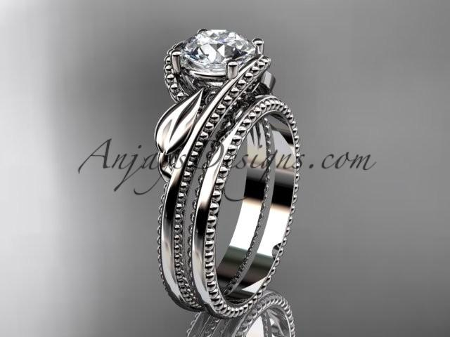 "Boda - Unique 14kt white gold engagement set with a ""Forever One"" Moissanite center stone ADLR322S"