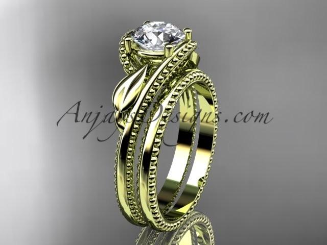 "Hochzeit - Unique 14kt yellow gold engagement set with a ""Forever One"" Moissanite center stone ADLR322S"